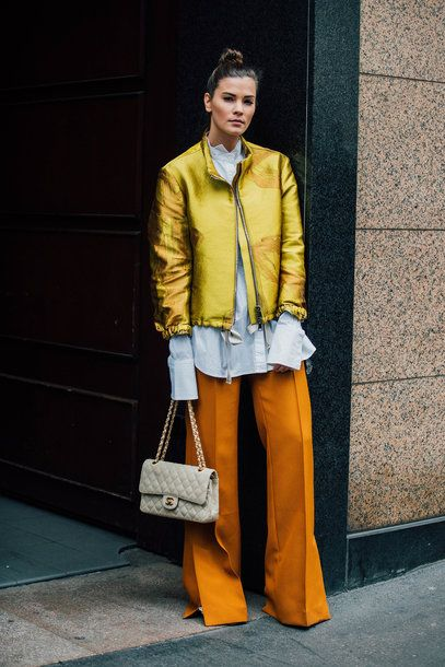 orange pants gold jacket