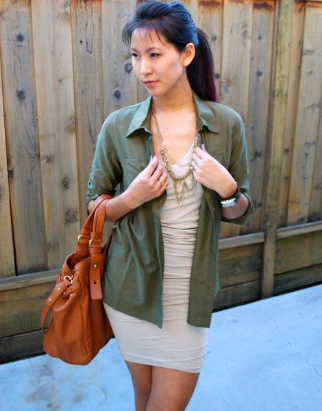 pale pink dress green button up shirt