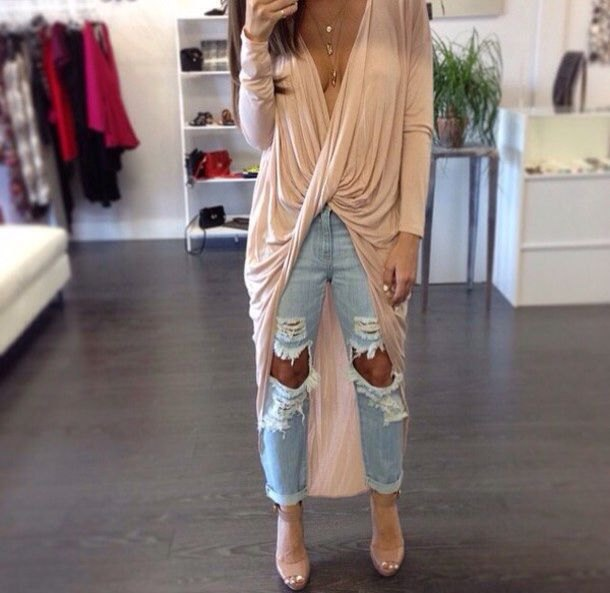 pale pink long sleeve draped high low maxi top