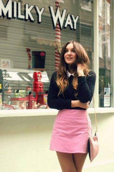 pink bodycon mini skirt black knit sweater