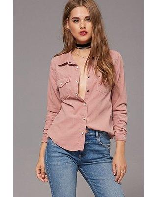 pink corduroy button up shirt choker