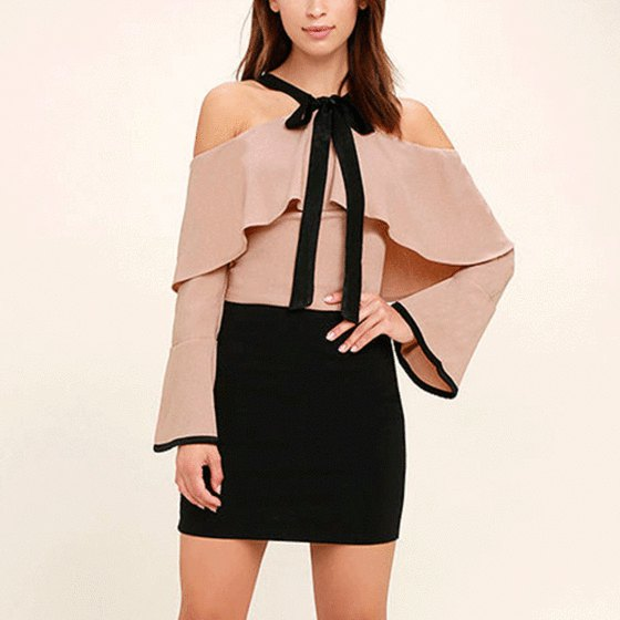 pink folded shoulder top black mini skirt