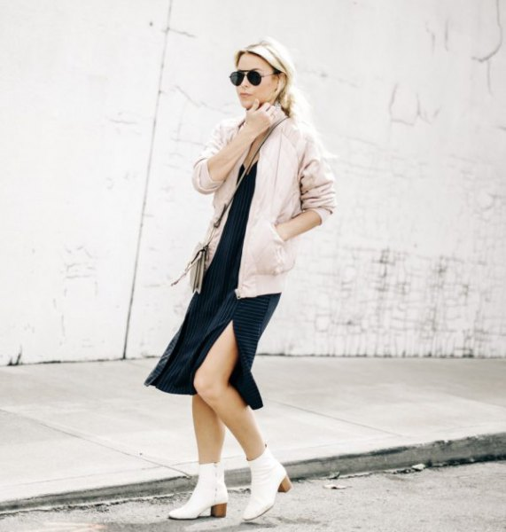 pink jacket black midi shift dress
