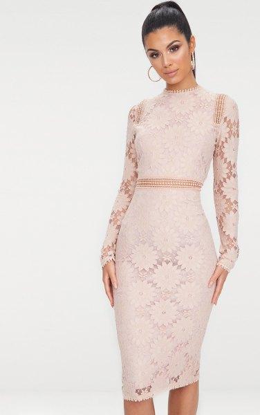 pink lace semi sheer bodycon midi dress