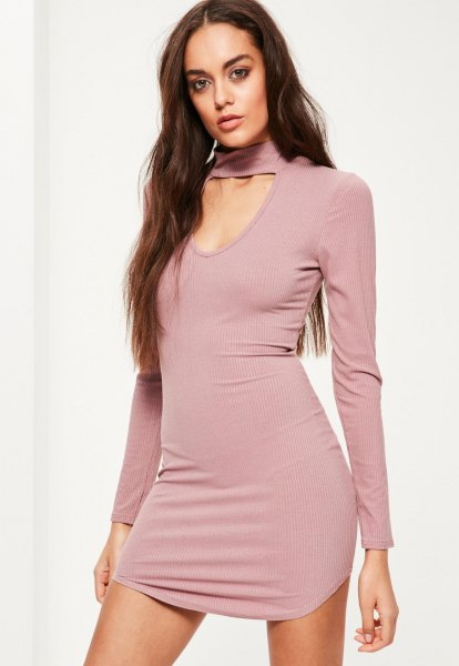 pink mock neck cutout front bodycon dress
