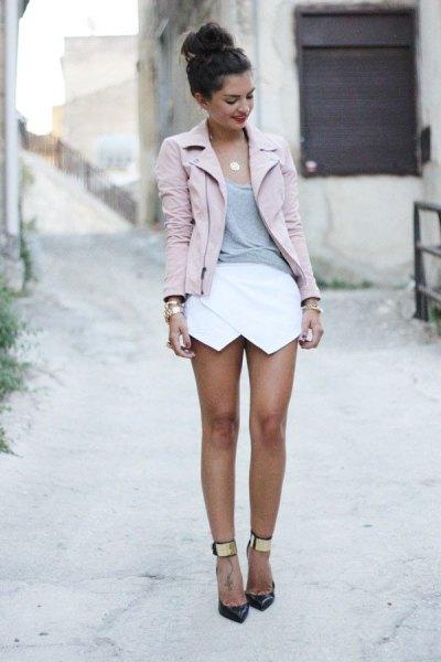 pink moto jacket white skorts