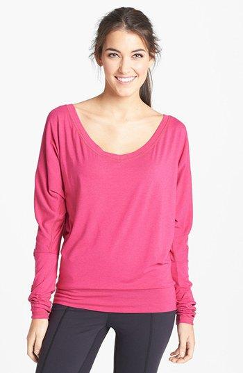 pink scoop neck dolman sleeve top