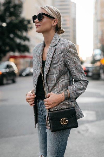 plaid jacket black vest top skinny jeans