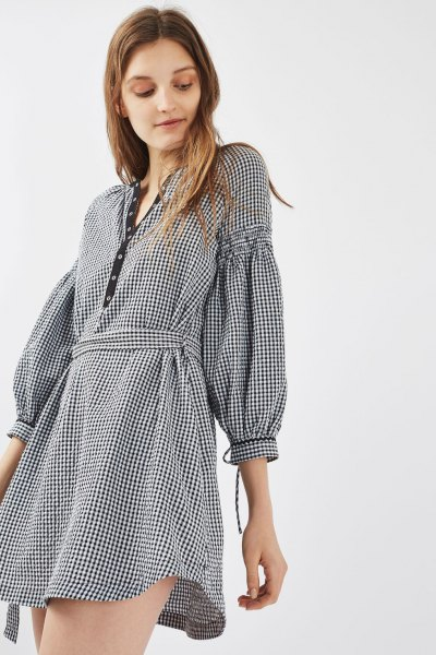 plaid puff sleeve belted mini dress