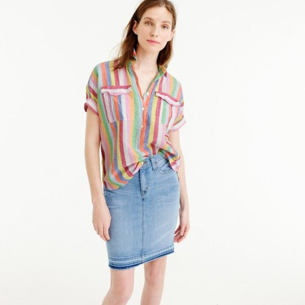rainbow color popover shirt denim shirt