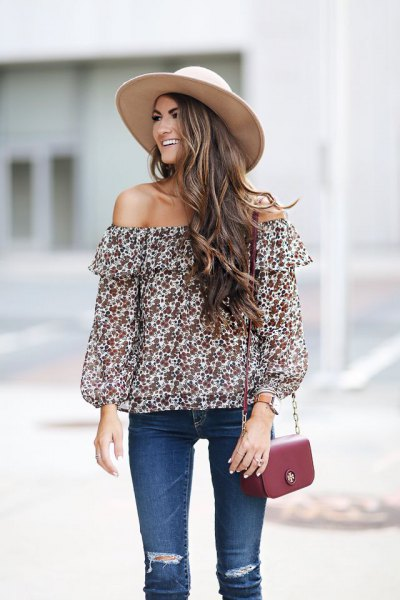 red and white floral off shoulder top