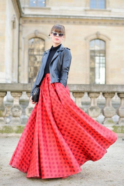 red breezy maxi skirt black leather jacket