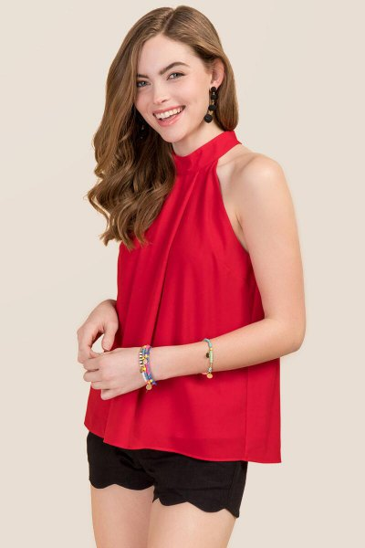 red chiffon top black scalloped hem mini shorts
