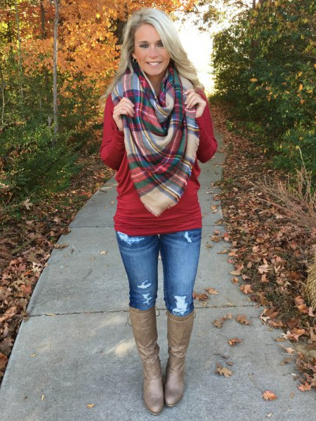 red dolman sleeve knit sweater plaid scarf