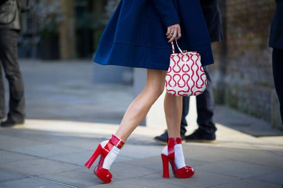 red platform heels white socks