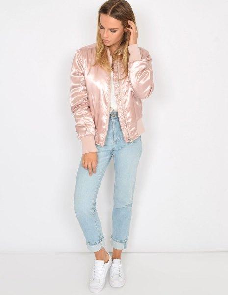 rose gold bomber jacket mom jeans