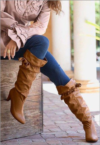 ruffle wide calf boots bell sleeve top