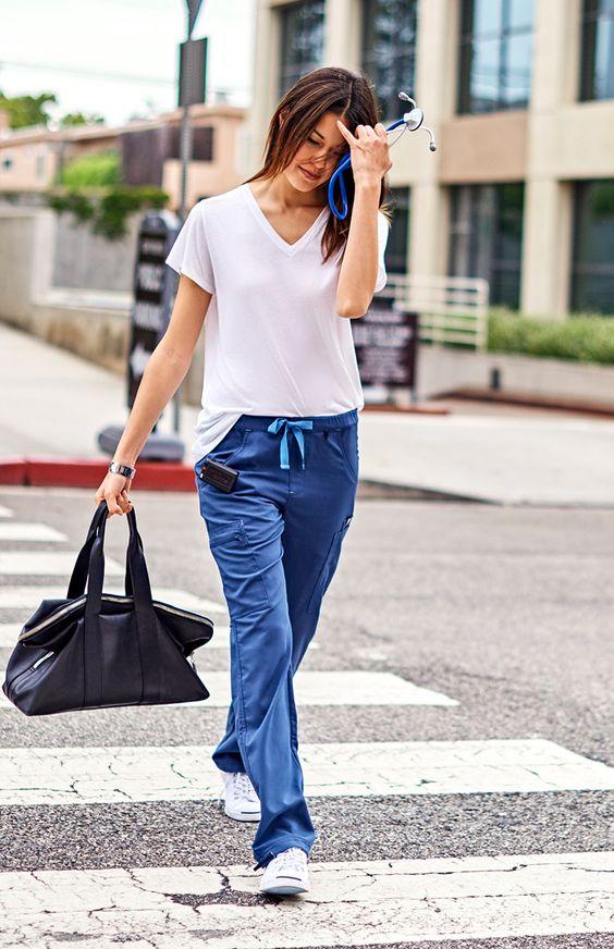 scrub pants blue