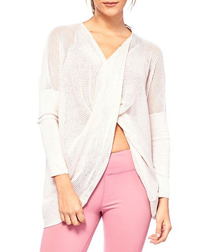 semi sheer white draped wrap sweater