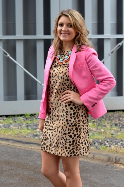 shift dress neon pink blazer