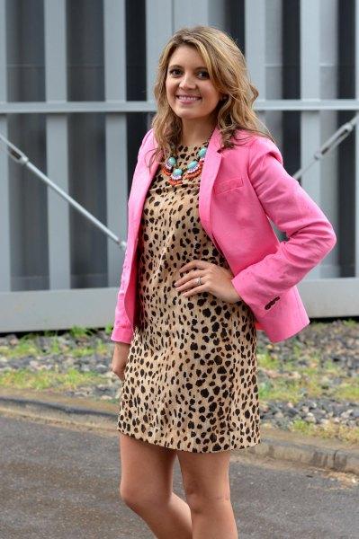 shift dress neon pink blazer