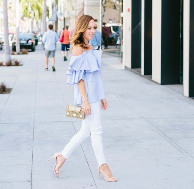 sky blue ruffle top white skinny jeans
