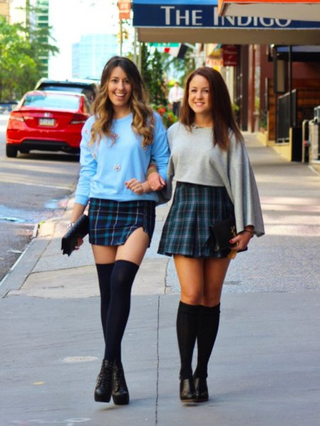 sky blue sweatshirt tartan mini skirt