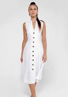 sleeveless button front midi sheath linen dress