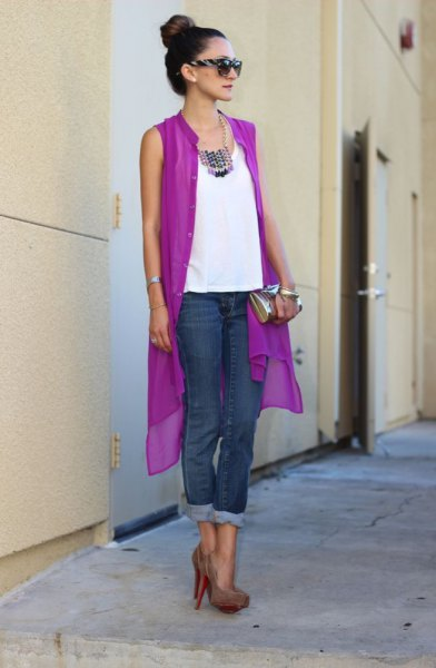 sleeveless purple chiffon cardigan white top jeans