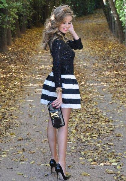 striped mini skirt black sequin top