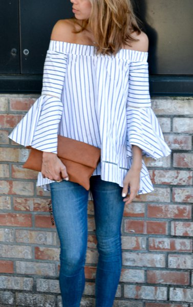 striped off shoulder bell sleeve blouse