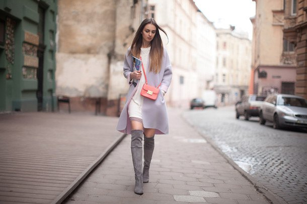 suede boots white sweater dress grey long coat