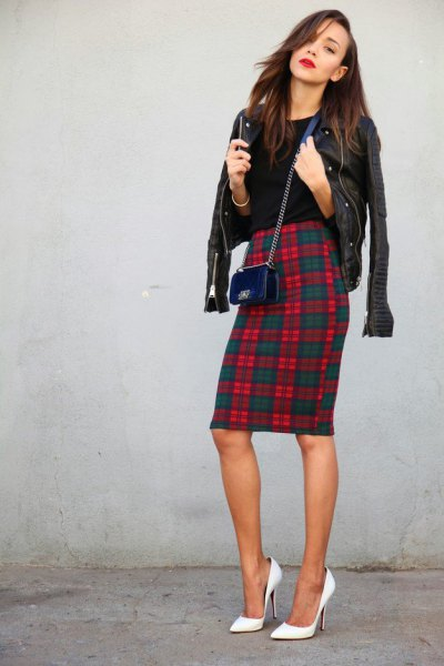 tartan pencil skirt leather jacket