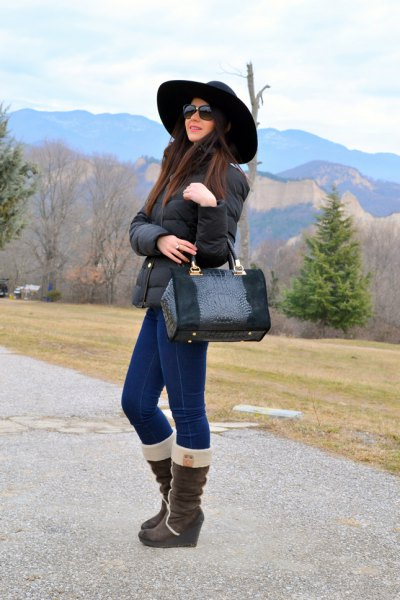 teddy wide calf boots skinny jeans