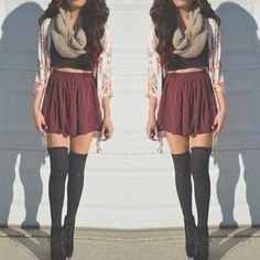 thigh high socks crop top grey pleated mini skirt