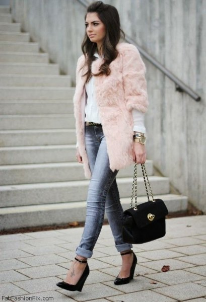 three quarter sleeve pink faux fur coat white blouse