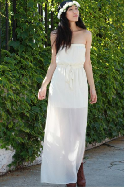 tube belted maxi dress semi sheer chiffon overlay