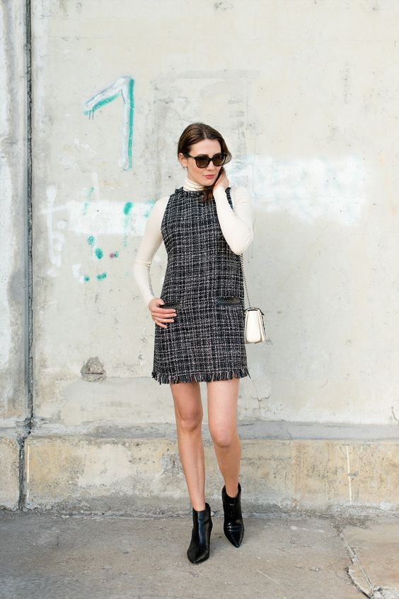 tweed dress layers