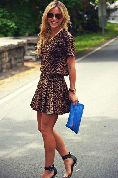 two piece leopard print min skater dress
