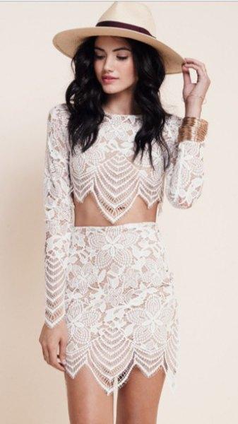 two piece white lace dress