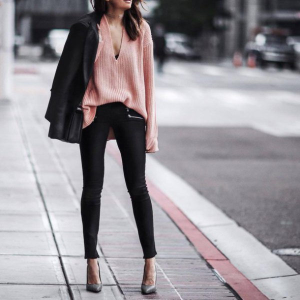 v neck crepe knit sweater black blazer