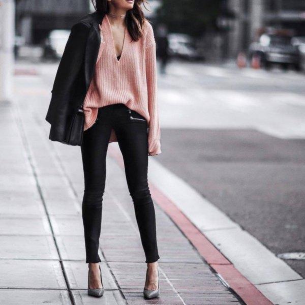 v neck crepe knit sweater black blazer