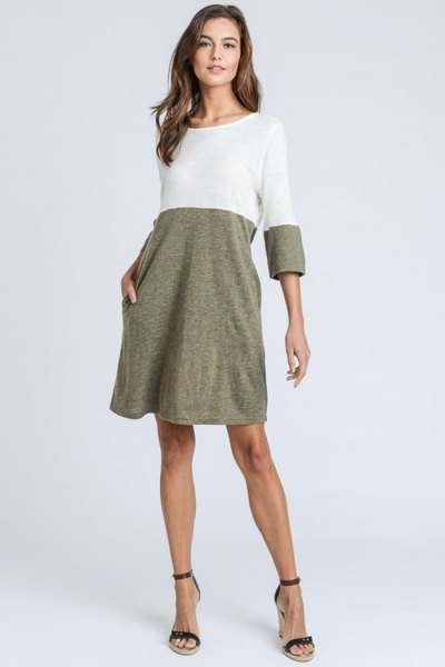 white and heather grey swing t shirt dress