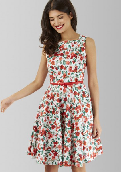 white and red belted floral skater dress