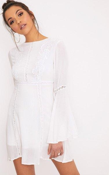 white bell sleeve breezy dress