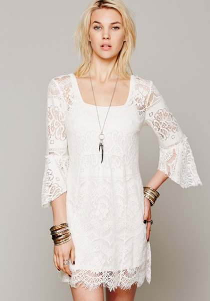 white bell sleeve lace shift dress