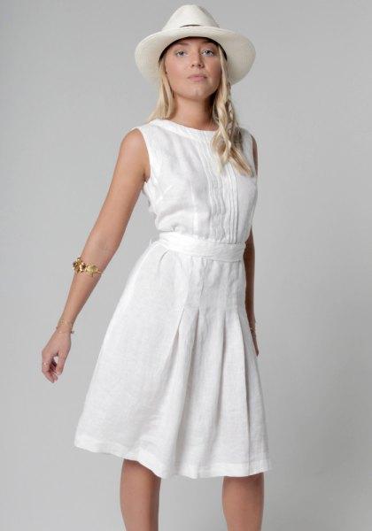 white belted boat neck flare dress felt hat