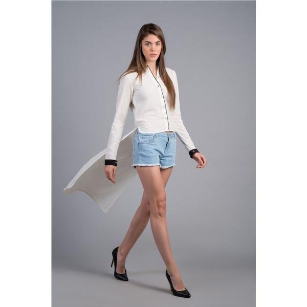 white chiffon shirt denim shorts