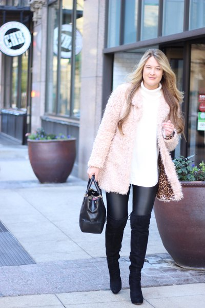 white chunky sweater leather leggings