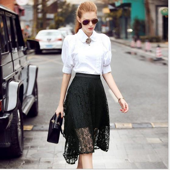 white collar puff sleeve blouse black lace skirt